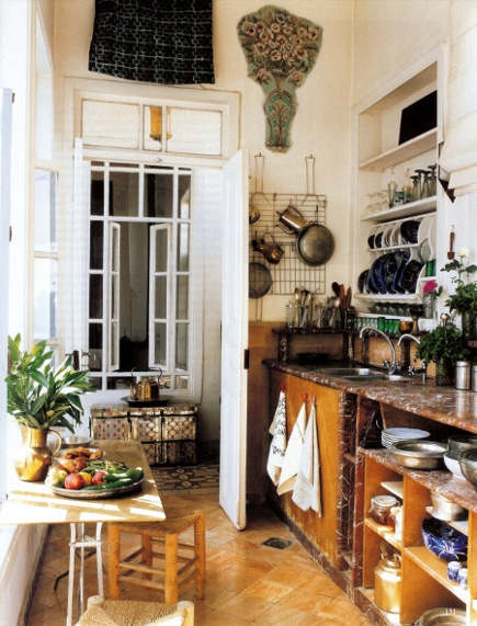 middle eastern kitchen - rustic kitchen with marble in a house in Damascus, Syria -WOI via Atticmag
