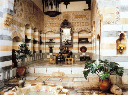middle eastern kitchen - courtyard of the restored house in Damascus, Syria - WOI via Atticmag