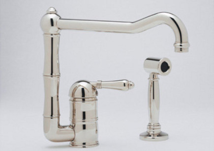 top kitchen faucets - Rohl Country faucet with sidespray - Rohl Home via Atticmag