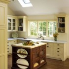 antique island kitchen yellow kitchen with antique wood island - smithriverkitchens via Atticmag