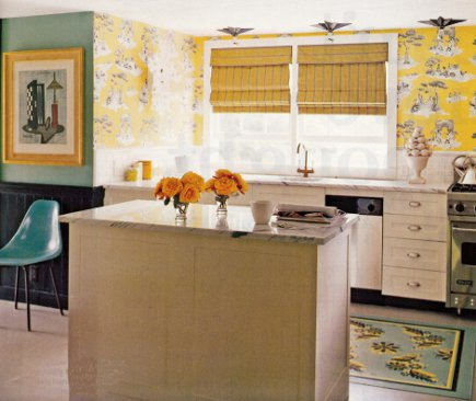 Sheila Bridges yellow kitchen with her Harlem toile de jouy wallpaper - Domino via Attimcag