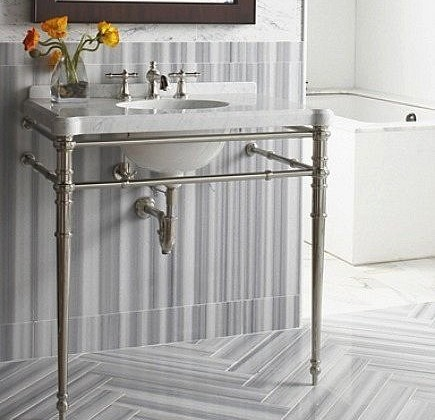 gray and white striped marble bath with chevron floor - Ann Sacks via Atticmag