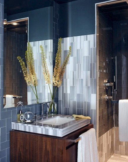 asher marble tile wall, sink counter and shower from House Beautiful via Aticmag