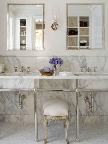 marble bathroom floors - Phoebe Howard bath with variegated mosaic marble tile floor - via Atticmag
