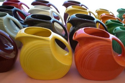 fiestaware pitchers at Brimfield Antiques show - Atticmag