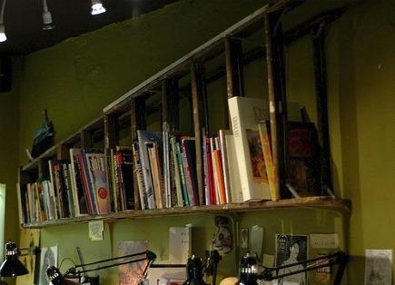 repurposed shelving - vintage wooden ladder used as a bookshelf - Poetic Home via Atticmag