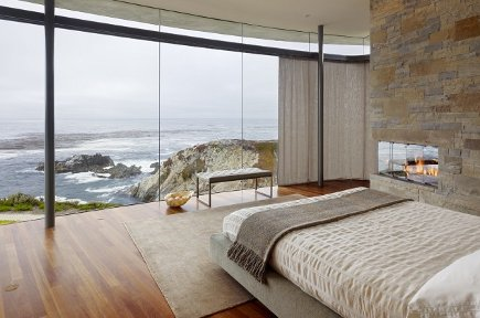 romantic bedroom - bedroom with window wall and view by Fulcrum via Atticmag