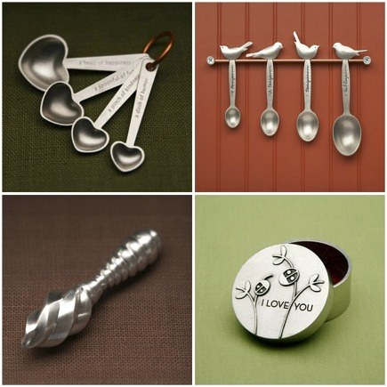 handcrafted pewter kitchenware - measuring spoons, lemon juicer and box from Beehive Kitchenware via Atticmag