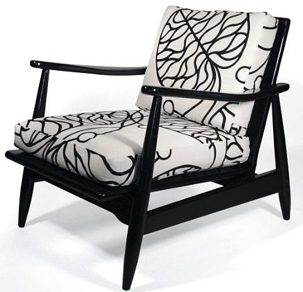 mid century modern estate sale black lacquar lounger chair with Marimekko fabric from Revision Home via Atticmag