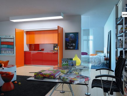 kitchen in a closet red and orange minimalist efficiency kitchen - Logos via Atticmag