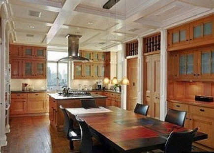 celebrity kitchens - Glenn Close's NYC Arts & Crafts wood kitchen - corcoran via Atticmag