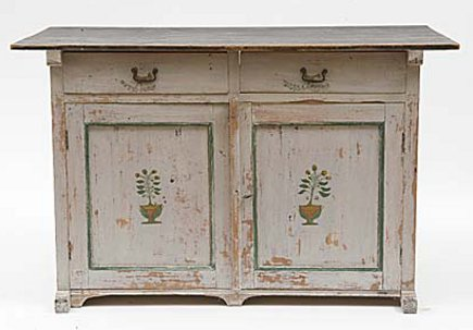 kitchen hutch - antique white 19th century dated Swedish buffet with floral design - Atticmag