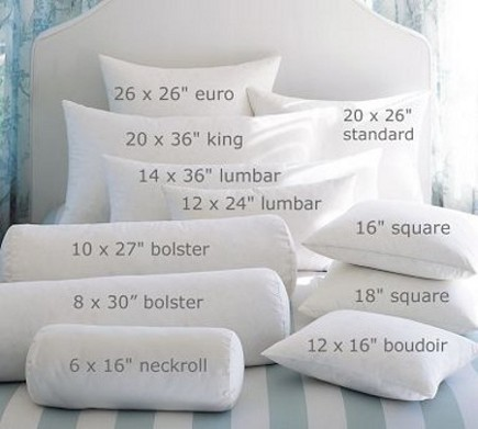 bed pillows - pillow size and shape guide - Pottery Barn via Atticmag