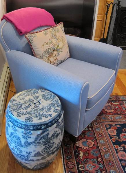 my blue and white Chinese export garden seat next to the Paris easy chair from Lee Industries - Atticmag