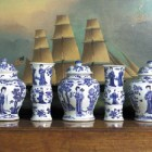 Chinese K'ang Hsi blue and white 5-piece mantel garniture in a Christie's auction - via Atticmag