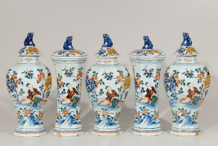 Set of give Delft polychrome fireplace mantel garniture - Christie's via Atticmag