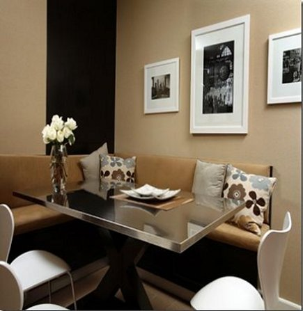 informal banquettes - fully upholstered banquette that floats like a sectional - via Atticmag