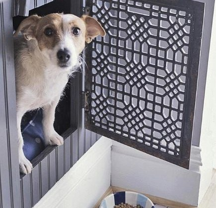 custom built ins for pets dog bed nook with vintage grate door