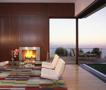 changing rugs - contemporary room with modern color-block rug - Kanner Architects via Atticmag