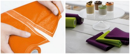 eco-friendly colorful disposable table linens from MYdrap via Atticmag