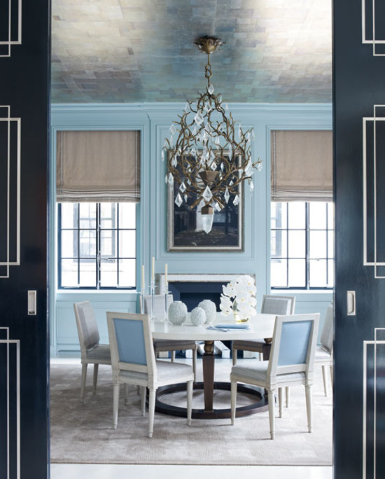 silver ceilings - sky blue dining room with silver ceiling - Veranda via Atticmag