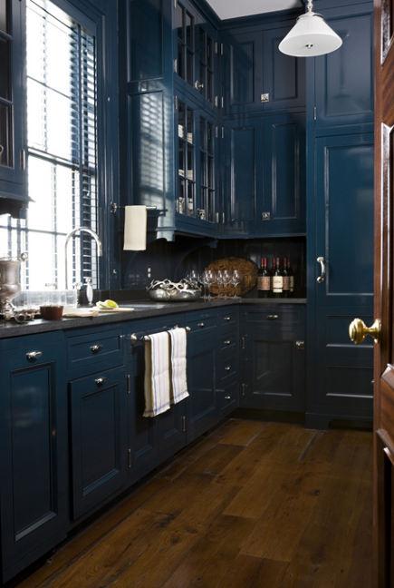 dark kitchen cabinets - dark blue high gloss kitchen by Miles Redd - via Atticmag