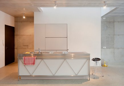 kitchen style - white and stainless Bulthaup kitchen in a Berlin loft - NY Times via Atticmag