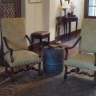 antique walnut French os de mouton chairs covered in honey color linen - Atticmag
