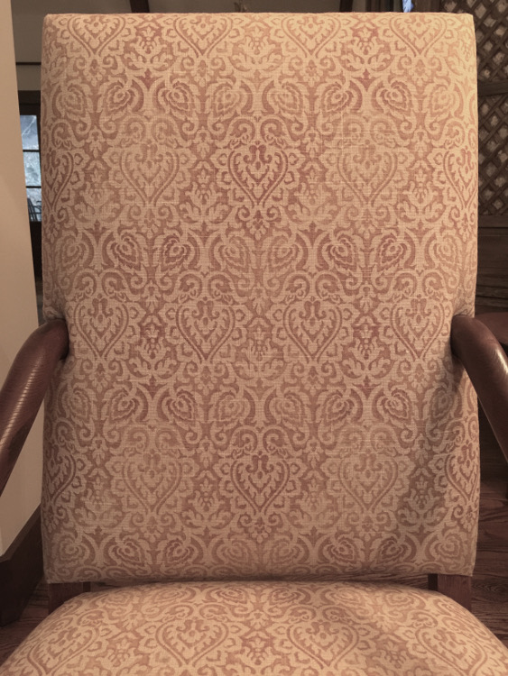 honey linen fabric detail covering French os de mouton chairs - Atticmag