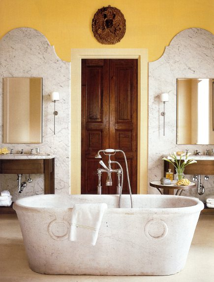 bathtubs - antique marble bathtub in a bathroom by Mary Spalding - Veranda via Atticmag