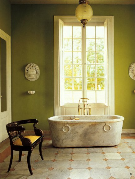bathtubs - antique marle Roman tub in a formal bathroom in Argentina - WOI via Atticmag