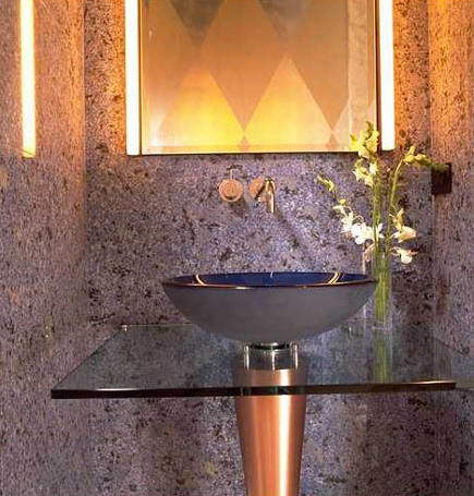 powder room personalities - neo Memphis glass vessel sink and copper pedestal powder room - jrwdesign via Atticmag