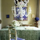 dining room with hydrangea blue and cabbage green color scheme