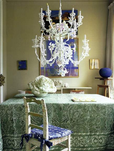 dining room with hydrangea blue and cabbage green color scheme - WOI via Atticmag