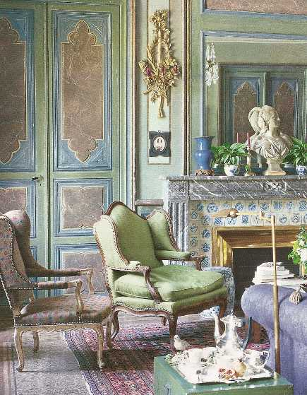 blue and green color Jean-Loup Daraux living room in the South of France - House Beautiful via Atticmag
