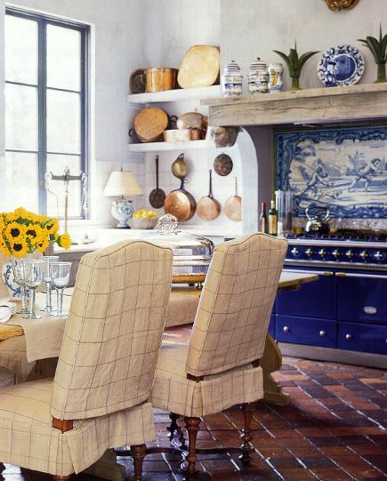 slipcover styles - two-piece windowpane check slipcovers for kitchen chairs by Mary Spaulding - WOI via Atticmag