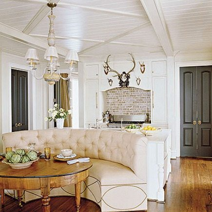 formal banquettes - built in upholstered banquette kitchen seating by Trove Interiors from Southern Accents via Atticmag