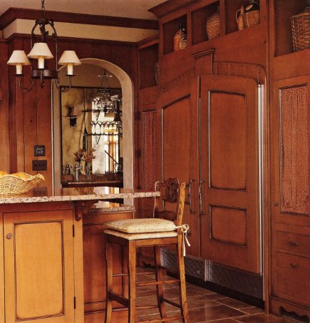 custom glazed maple cabinets with furniture details - BH&G via Atticmag