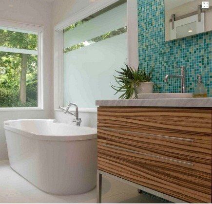 zebrawood master bath - modern bath with zebrawood vanity and Bisazzo glass mosaic tile wall by Wrightworks, LLC via Atticmag