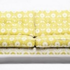 boho sofas - Donna Wilson's yellow and white two-print Mabel sofa for SCP - via Atticmag