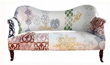 boho sofas - John Robshaw multi print on John Derian Dromedary sofa - via Atticmag