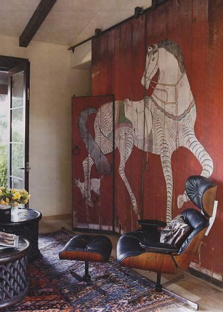 decorative interior barn doors - red painted interior barn doors with a horse from House Beautiful by Erin Martin via Atticmag