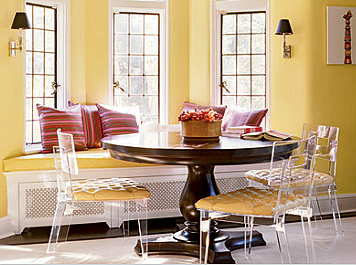 Acrylic Furniture   Plexi Craft George II Chairs Paired With Traditional  Round Pedestal Dining Room
