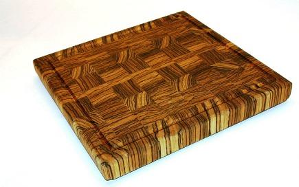 kitchen accessories - end grain zebrawood cutting board from Carolina Wood Designs via Atticmag