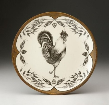 ceramic tableware - rooster platter from Laura Zindel Design via Atticmag