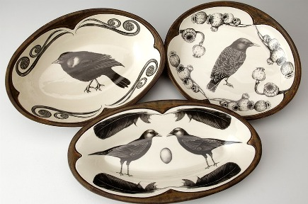 ceramic tableware - bird motif dishes from Laura Zindel Design via Atticmag