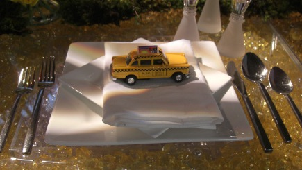 tablescapes - yellow cab as motif on a Manhattan theme table setting for Manhattan Magazine - Atticmag