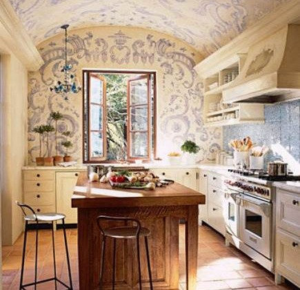 blue and white mural - napa valley guest house kitchen with blue mural ceiling by Erin Martin via Atticmag