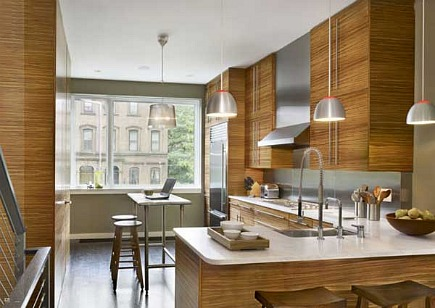 modern zebrawood kitchen cabinets with Carrera marble countertops