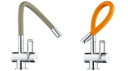 kitchen faucets - colorful Arwa twinflex flexible spout Swiss kitchen sink faucets - Arwa via Atticmag